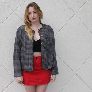 Jackets & Blazers - Grey + Red Plaid Long Sleeve Gold Button Up Coat❣️